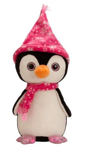 Kuschelig weicher Pinguin mit Mütze und Schal pink Höhe 40 cm samtig weich Stofftiere