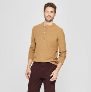 Goodfellow-amp-Co-Men-039-s-Cotton-Long-Sleeve-3-Button-Henley-Shirt-Big-amp-Tall