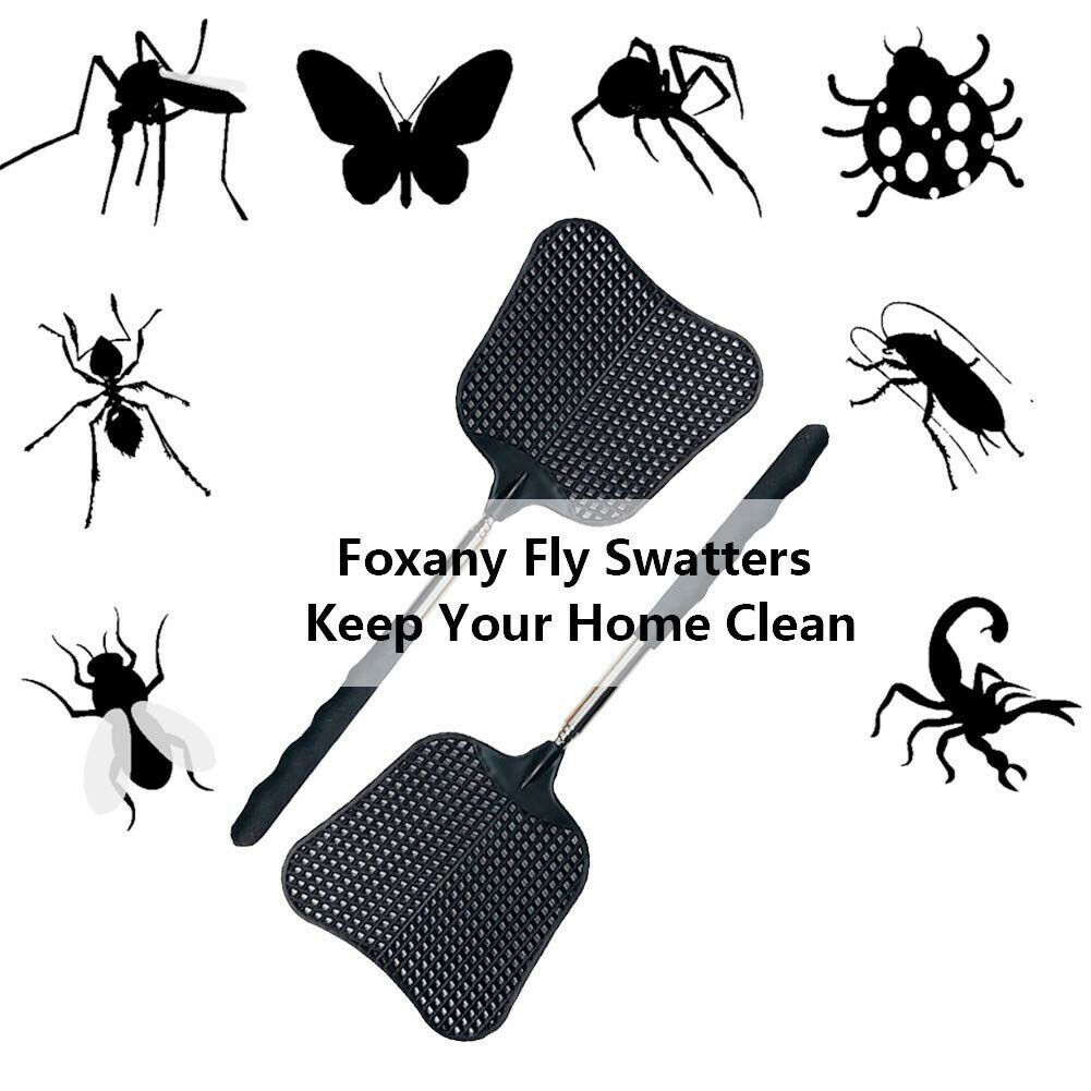 Stainless Steel Handle Telescopic Fly Swatter Pest Control Anti Mosquito Home