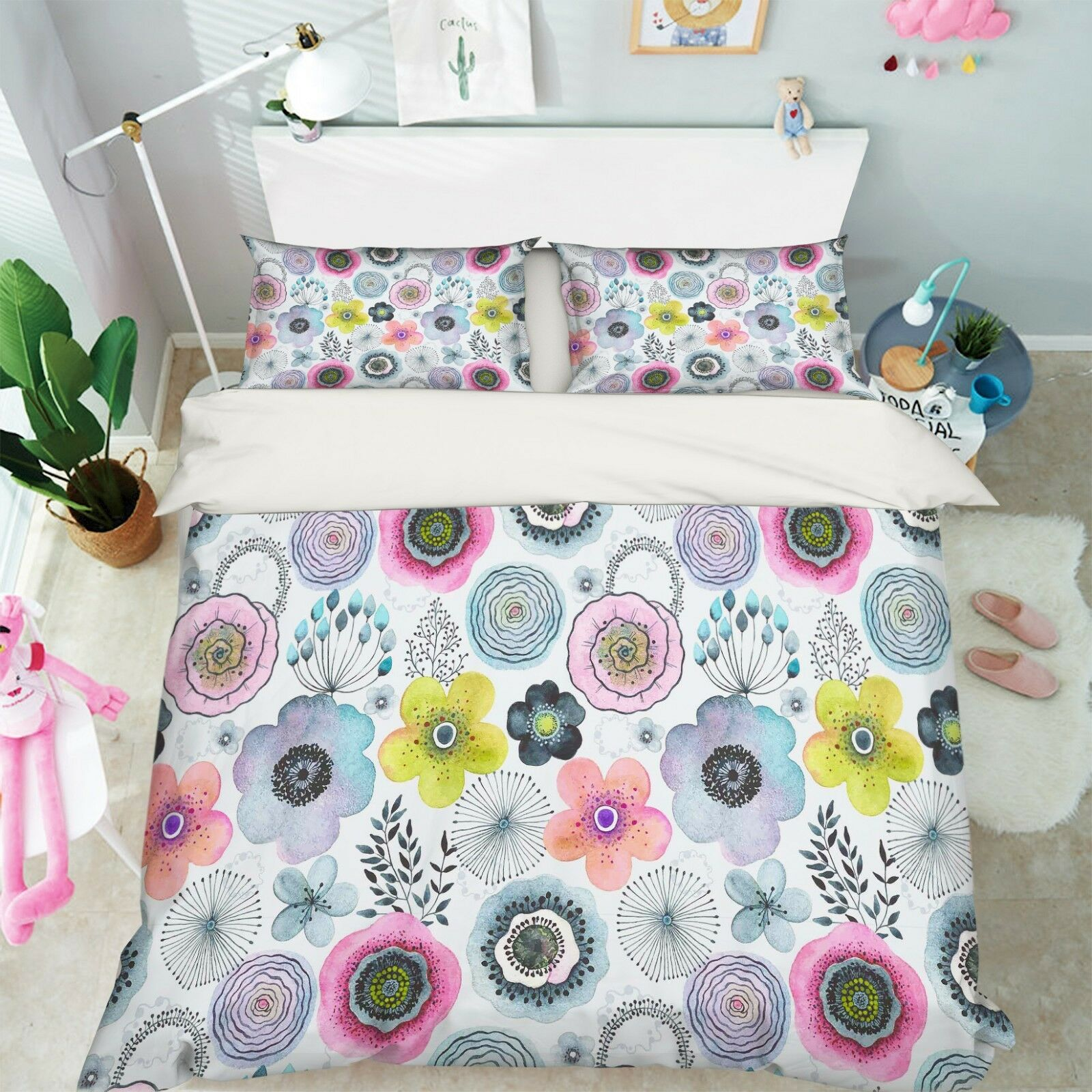 3D Painted Flowers 99 Bed Pillowcases Quilt Duvet Cover Set Single Queen King CA