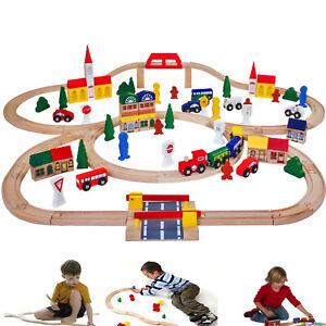 100 Pièces en Bois Jouet Train Set Railway Childrens Grand Jeu Set Railway track UK