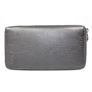 Genuine-Leather-Women-Checkbook-Zip-Around-Wallet