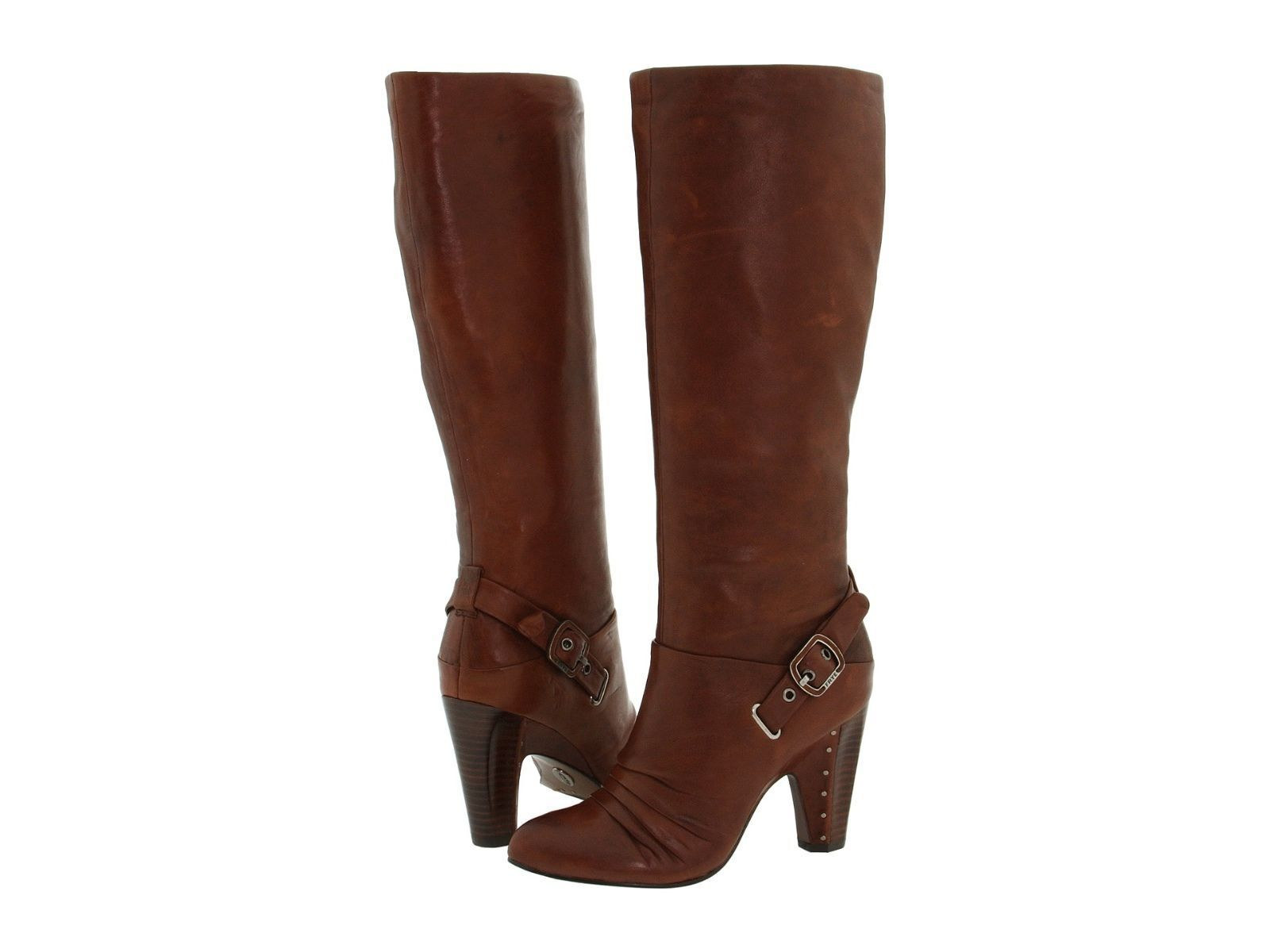 FRYE Bethany Strappy Softie Saddle Brown Leather Tall Boots Sz 6.5  388 NEW BOX