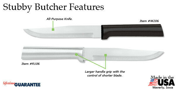 Rada Cutlery R106 Stubby Butcher Knife (4 ct) kitchen prep cook USA, S/S blade