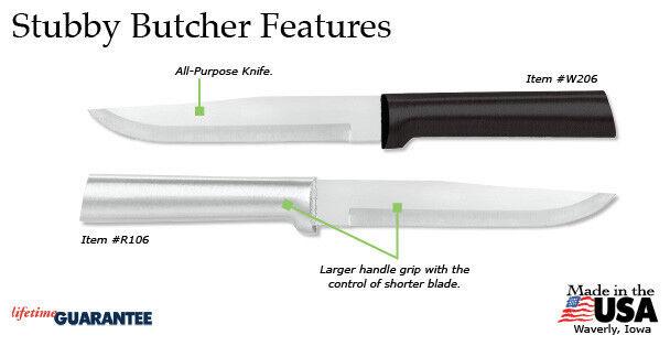 Rada Cutlery R106 Stubby Butcher Knife (4 ct) kitchen prep cook USA, S/S blade