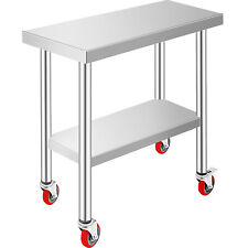 Rolling Stainless Steel Top Kitchen Work Table Cart Casters Shelving 30x12