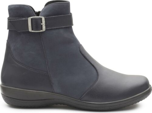 Casual Ankle Boots Navy 2E//3E Padders MARY Ladies Womens Leather Extra Wide