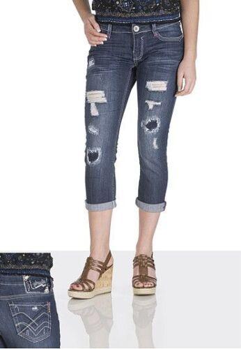 NEW HYDRAULIC  Jeans Denim Dark Wash Destructed Capri Skinny Cuts Distressed