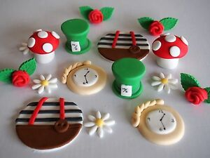 Image Is Loading 24 X EDIBLE Alice In Wonderland CUPCAKE TOPPERS