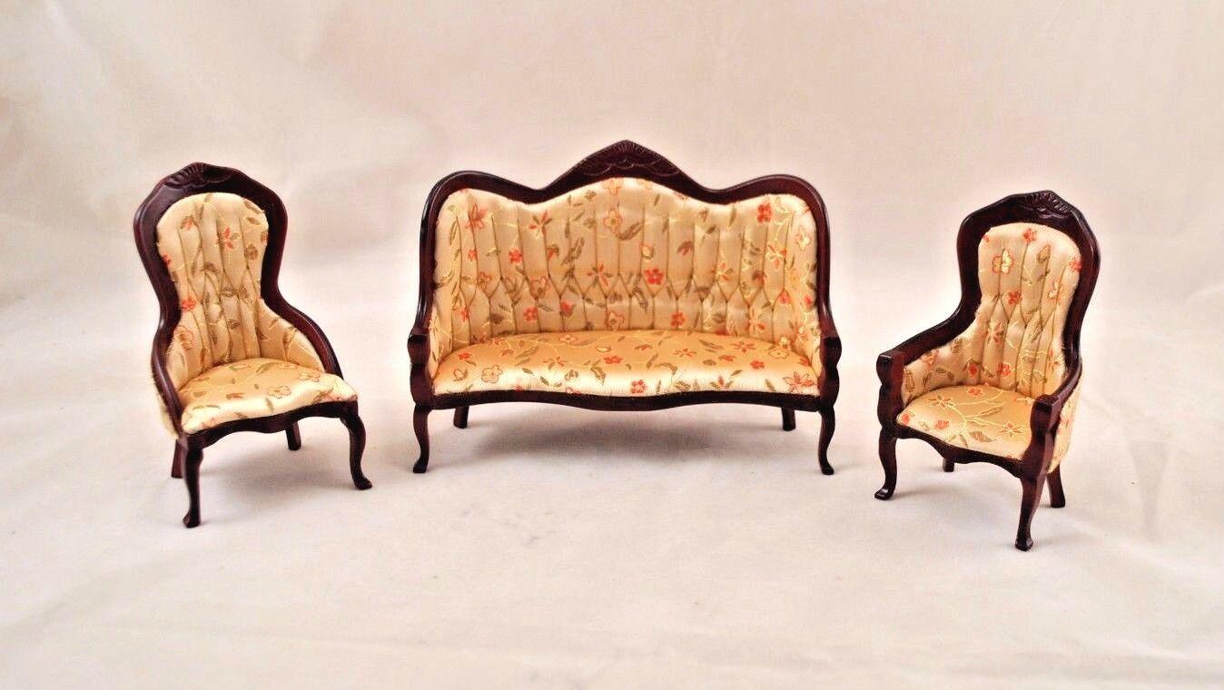 Victorian Living Room Parlor Set walnut dollhouse   1/12 scale CLA917  wood 3pcs
