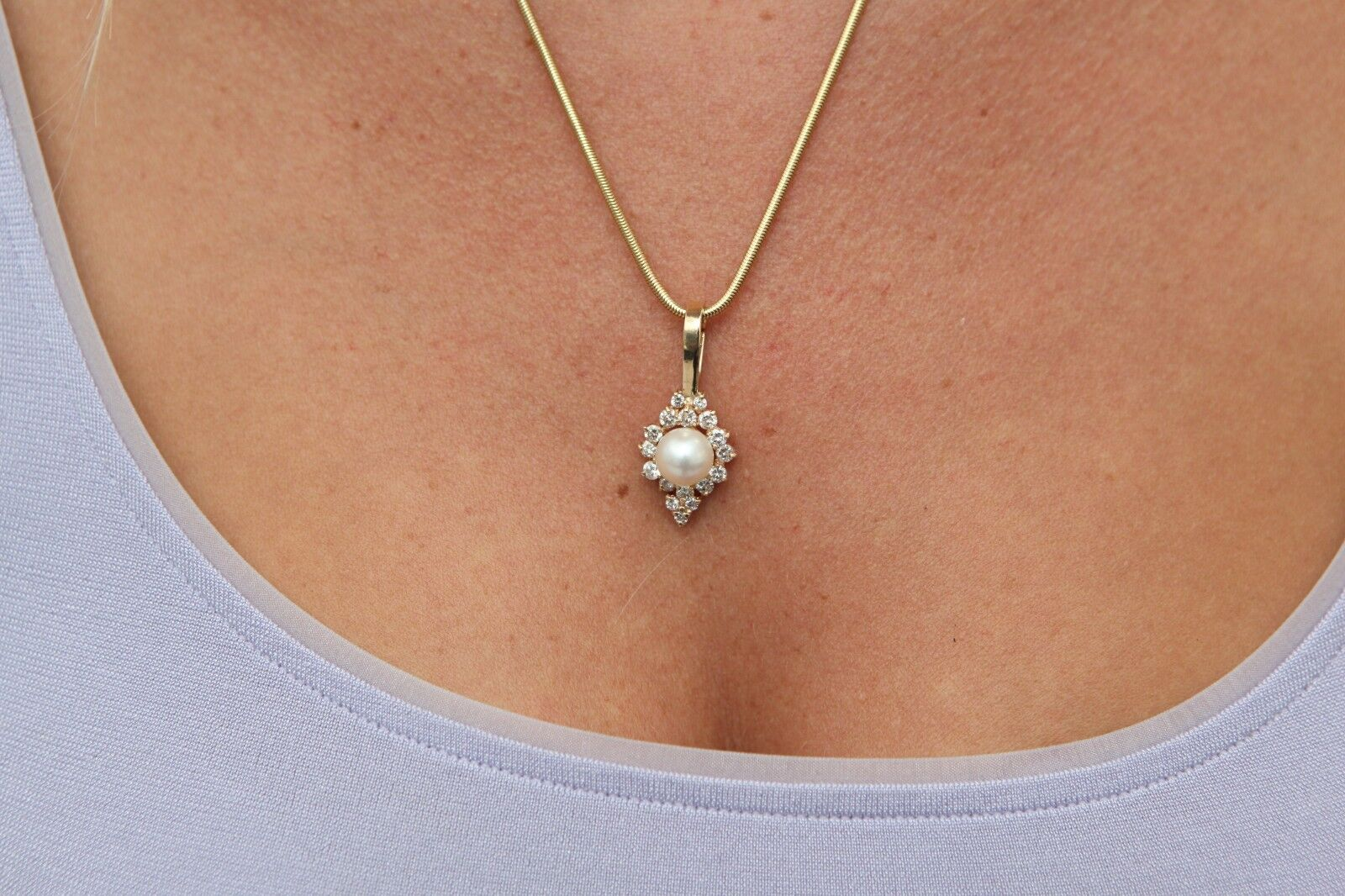 Pearl and Diamond Pendant Enhancer in 14k Yellow gold