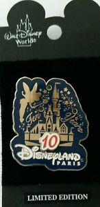 Disney-Pin-10th-Anniversary-Disneyland-Paris-Cinderella-Castle-Tinker-Bell-3D