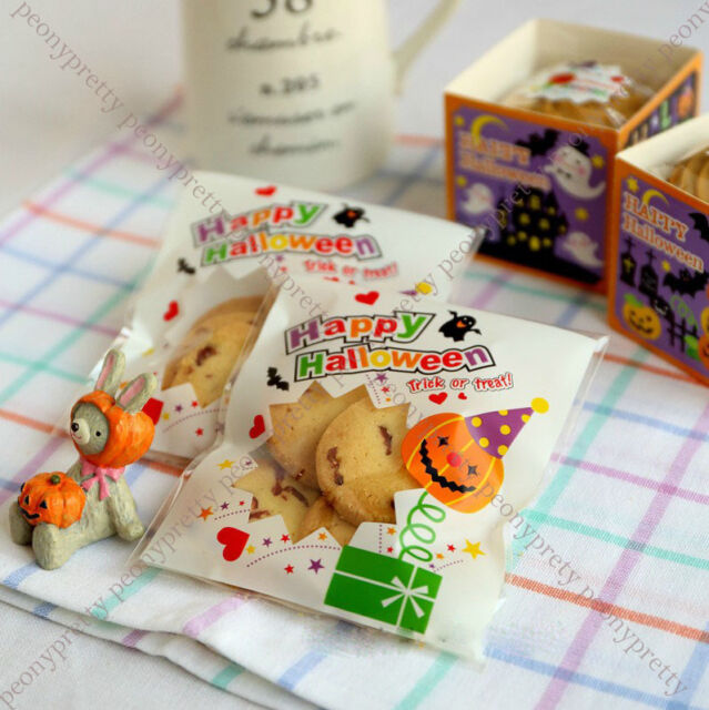 self adhesive halloween treat cello cellophane cookie candy bags party gift