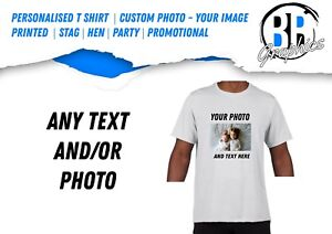 Personalised-T-Shirt-Adult-Kids-Custom-Photo-Image-Printed-Party-Promotional