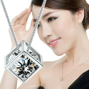 1x-Damen-Schmuck-HalsKette-Silber-Kristallstein-Quadrat-Magic-Cube-NEU