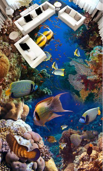 3D fish water stone 179 Floor WallPaper Murals Wall Print Decal 5D AJ WALLPAPER