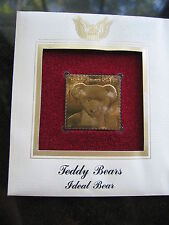 TEDDY BEARS IDEAL BEAR replica FDI 22kt Gold Golden Cover Stamp FDC 2002