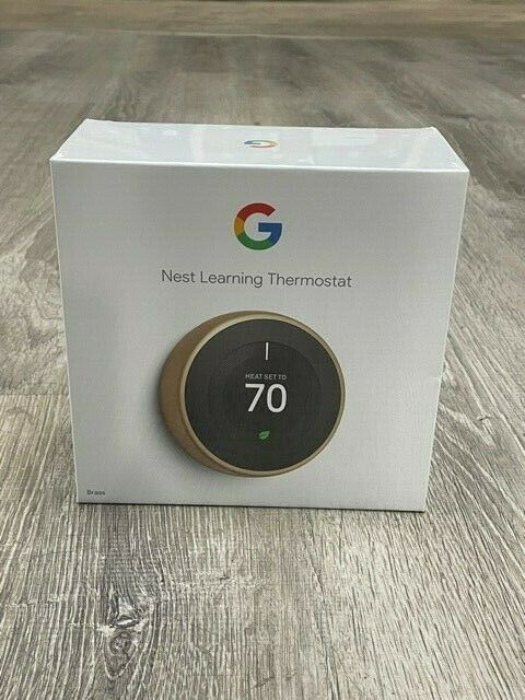 Nest T3032US 3rd Generation Learning Thermostat - Brushed Brass - Factory Sealed