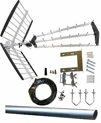 Digital TV Aerial kit 64 Element HD Freeview outdoor/loft 32 48 52 arial antenna