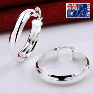 New-925-Sterling-Silver-Filled-Women-34mm-LARGE-Round-Hoop-Earrings-Stunning