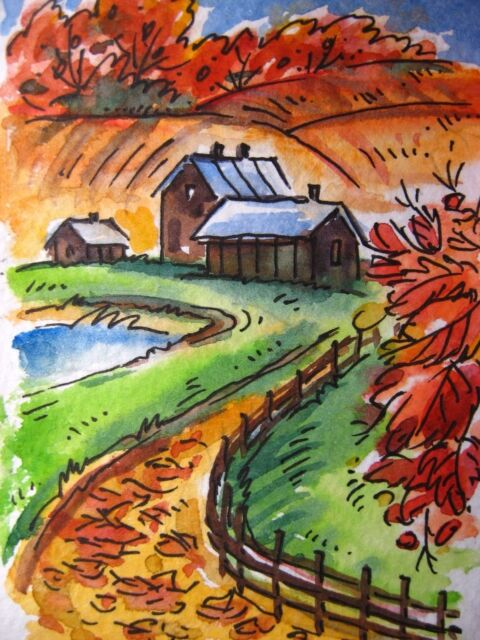 Country Fall Farm Barn Lake Pond Road Hills Foliage Collectible ACEO Art Card