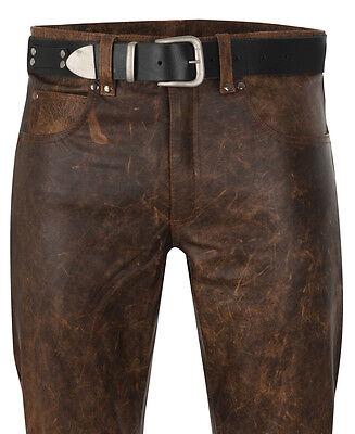 mens leather jeans antique brown leather pants new trousers  Lederjeans antik