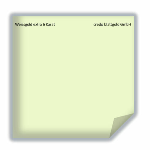 Weissgold extra 6 Karat Blattgold  transfer 25 Blatt 8 x 8 cm zum vergolden