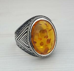 Amber Ring Sterling Silver Amber Ring amber Statement Bague femme Ambre Bague