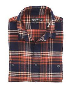 J-Crew-Mercantile-Mens-M-Slim-Fit-Navy-Orange-Brown-Ombre-Plaid-Flannel-Shirt