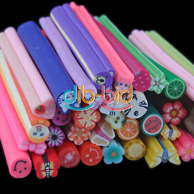 Nail Art 3D Flower Fruit Fimo Canes Rod Polymer Clay Stick Sticker Decoration DB