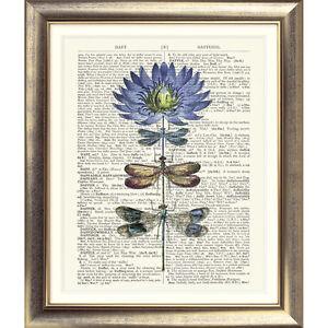 ART-PRINT-ORIGINAL-ANTIQUE-BOOK-PAGE-Vintage-Dictionary-Dragonfly-Flower-VINTAGE