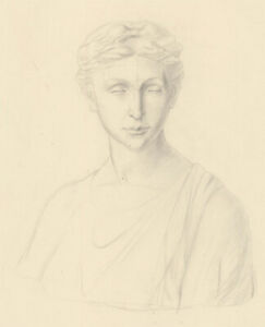 Anne Roger - Mid 20th Century Graphite Drawing, Study of a Female Bust