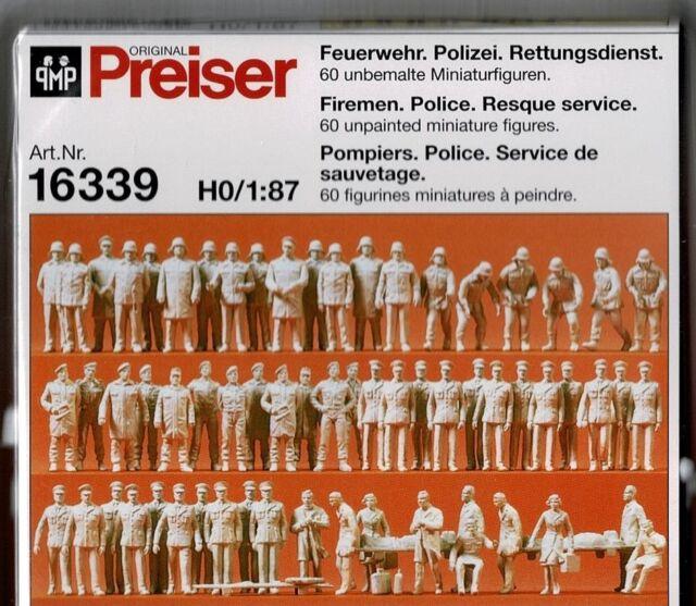 Feuerwehr Rettungs 60 unbemalte Figuren Preiser 16339 Spur H0 Figuren Polizei