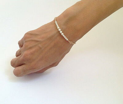 Hot Gift Womens Fashion Elegant Simple Pearl Bead Golden Chain Bracelet Bangle