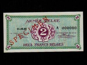 Belgium-P-M2-2-Francs-1946-Military-Issue-ARMEE-A-Specimen-UNC
