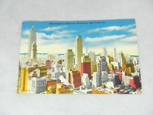 Vintage-Skyscrapers-in-Mid-town-Manhattan-New-York-City-Card-Postcard-NY