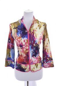 Joseph-Ribkoff-Womens-Zip-Up-Jacket-Cardigan-Blazer-Floral-Print-Pink-Sz-4-Small