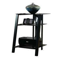 Sauder Furniture Mirage Technology Pier W/ Tempered Glass Top, Black | Sf-411971 on Sale