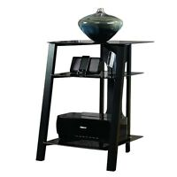 Sauder Furniture Mirage Technology Pier W/ Tempered Glass Top, Black | Sf-411971 on sale