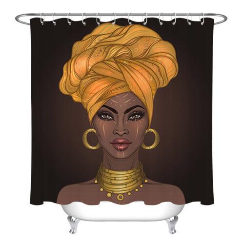 African American Pretty Girl Turban Black Woman Lips Fabric Shower Curtain Liner