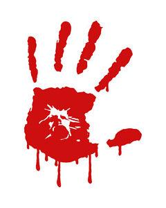 Bloody Zombie Left Hand Print Vinyl Decal Outdoor Car