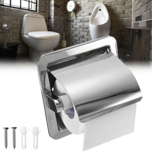 Brushed Nickel Loaded Bath ❤ Recessed Toilet Paper Roll Holder Stand Tissue