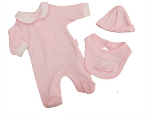 BNWT Tiny prématuré Preemie Baby Girls 3 Piece Sleepsuit Bib Chapeau 3-5 Lb 5-8 LB