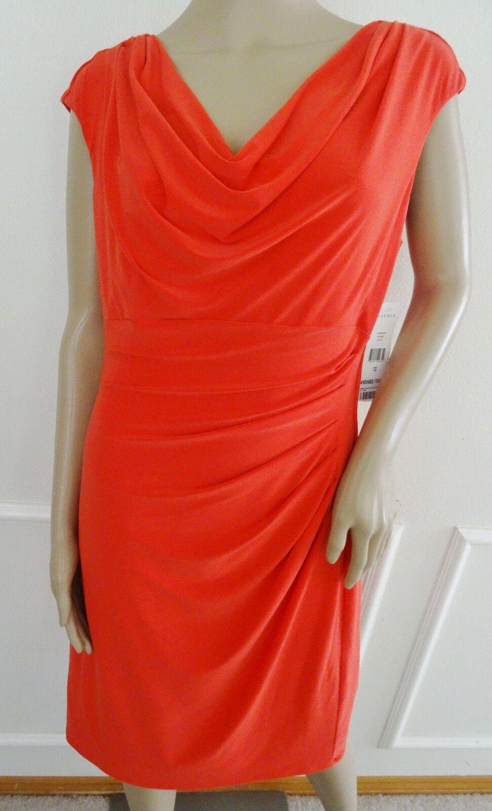 Lauren Ralph Lauren Cowl Neck Sheath Draped Work Day Dress Sz 14P Petite Coral