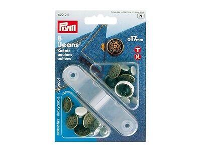 Prym Jeansknöpfe Knöpfe Jeansknopf mit Werkzeug 17 mm silber 8 St    622210
