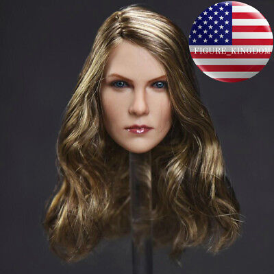"""1//6 American Female Head Sculpt Cheveux Brun pour 12/"""" Hot Toys PHICEN Figure USA"""