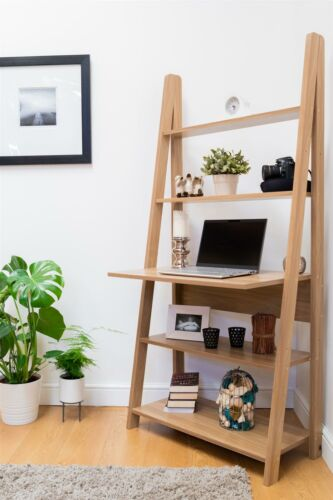 Riva Scandinavian Retro Ladder Bookcase Desk Shelving Shelf Unit Oak 5 Tier