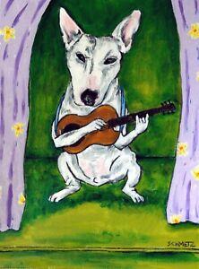 bull terrier SLEEPING dog 11x14  art artist print animals impressionism