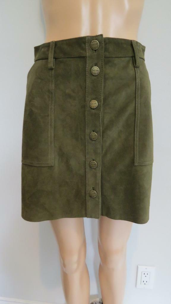 NWT Current Elliot Green 'The Leather Naval' Skirt, Sz 24