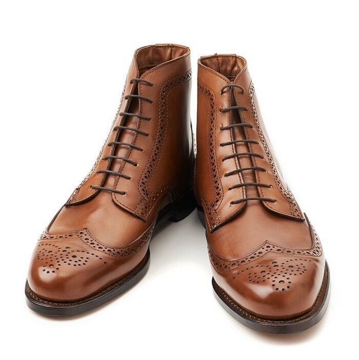 Handmade Men brown wingtip brogue brogue brogue ankle lace up boots Men ankle leather boots d9fb22